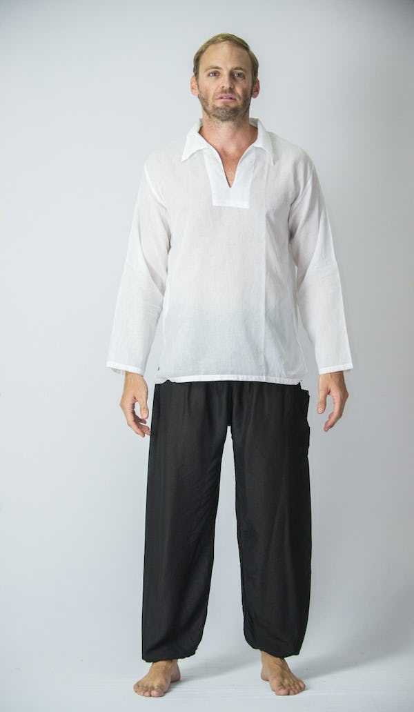 Mens V Neck Collar Yoga Shirt in White