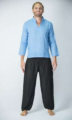Womens Yoga Shirt No Collar with Coconut Buttons In Blue