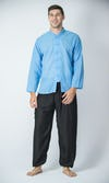 Mens Yoga Shirt Chinese Collared In Blue