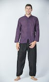 Mens Yoga Shirts Chinese Collared In Dark Purple