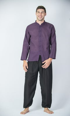 Mens Yoga Shirt Nehru Collared In Dark Purple