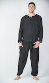 Mens Yoga Shirts No Collar with Coconut Buttons In Black