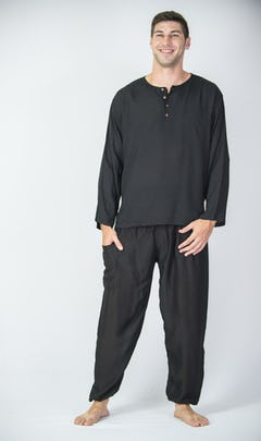 Mens V Neck Collar Yoga Shirt in Black