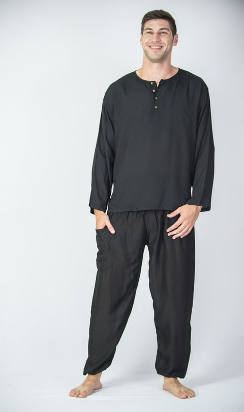 Mens Yoga Shirt No Collar with Coconut Buttons In Black