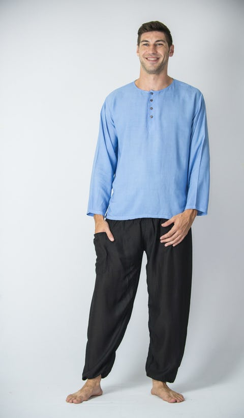 Mens Yoga Shirt No Collar with Coconut Buttons In Blue