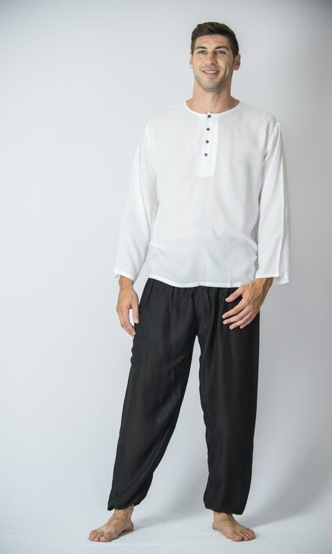 Mens Yoga Shirt No Collar with Coconut Buttons In White