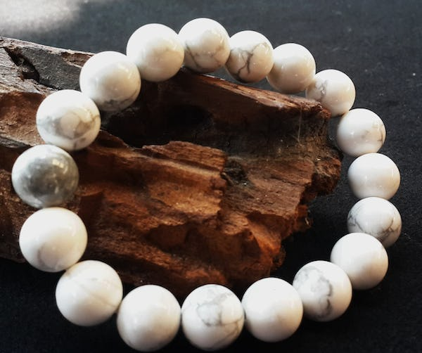 Lucky Stone Hand Made Bracelet Elastic With Howlite