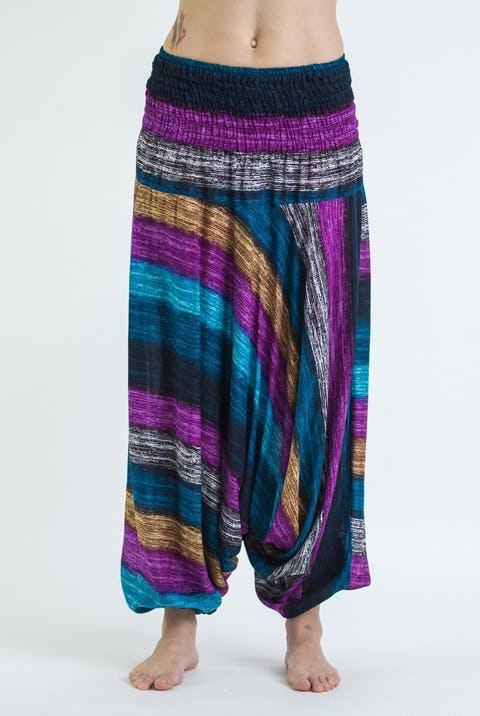 Boho Striped Unisex Low Cut Harem Pants in Festival Blue