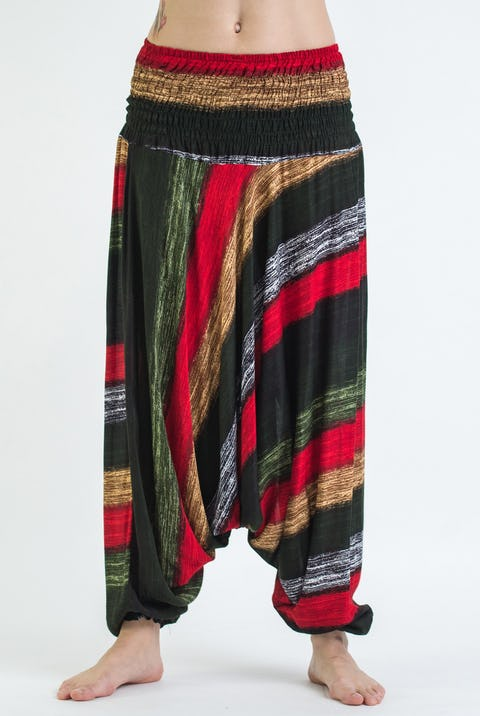 Boho Striped Unisex Low Cut Harem Pants in Festival  Green