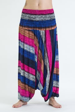 Thai Hill Tribe Fabric Harem Pants with Ankle Straps in Red