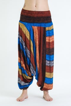 Swirls Prints Thai Hill Tribe Fabric Unisex Harem Pants with Ankle Straps in Black