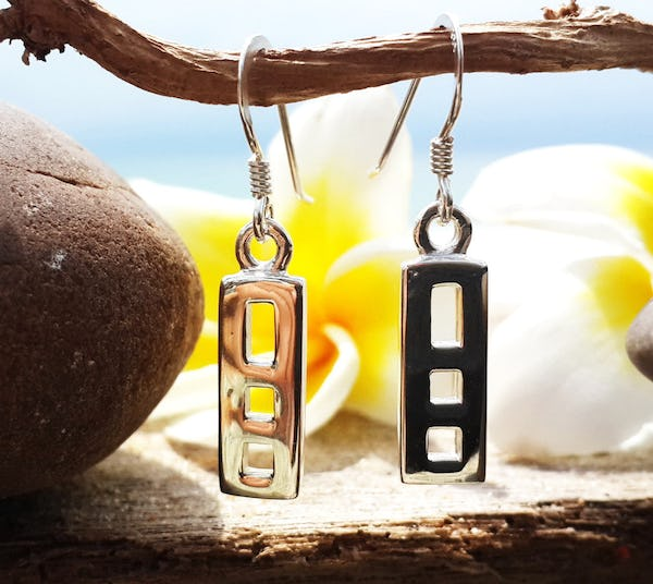 Sterling Silver Thai  Earrings Cool Squares