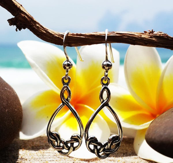 Sterling Silver Thai  Dangle Earrings Celtic Drop