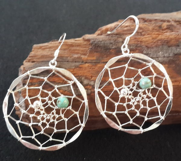 Sterling Silver Thai  Dangle Earrings DreamCatcher with Turquoise