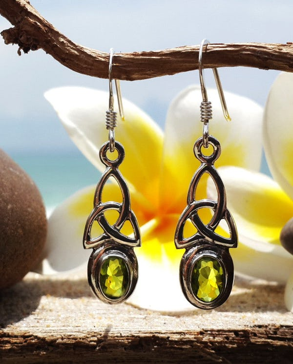 Sterling Silver Thai  Dangle Earrings Celtic Triangle With Peridot Glass Stone