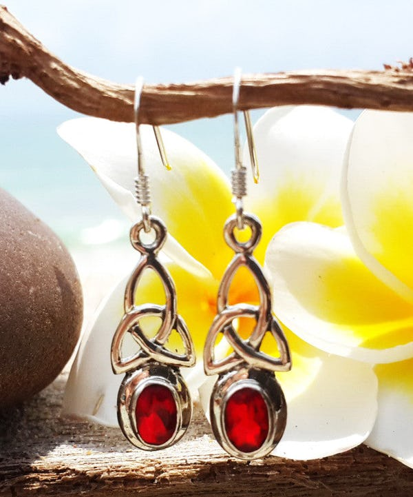 Sterling Silver Thai  Dangle Earrings Celtic Triangle With Ruby Glass Stone