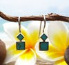 Sterling Silver Thai Earrings Double Square Jade