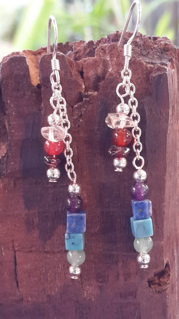 Sterling Silver Thai  Dangle Earrings Chain With Multi Stones