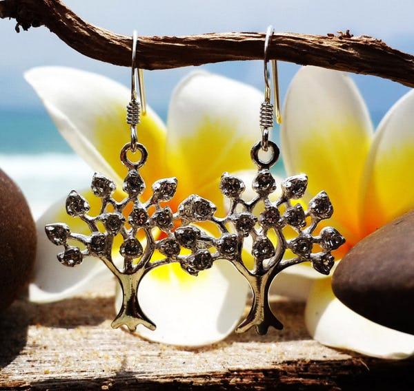 Sterling Silver Thai  Earrings Crystal Tree Of Life