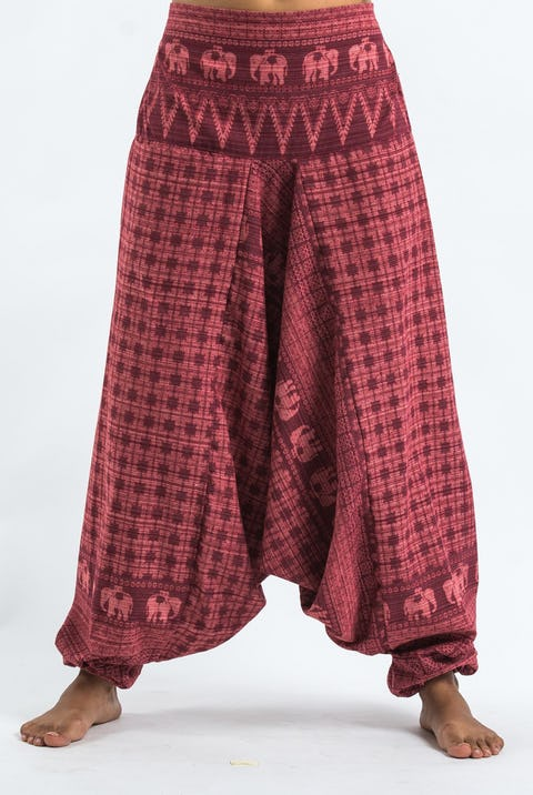Hill Tribe Elephants Harem Pants in Red