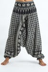 Hill Tribe Elephants Harem Pants in Black