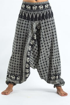 Tie Dye Cotton Unisex Harem Pants in Black and White