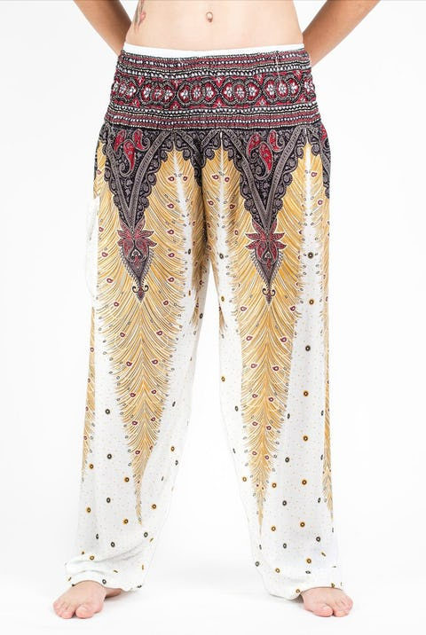 Peacock Feathers Unisex Harem Pants in White