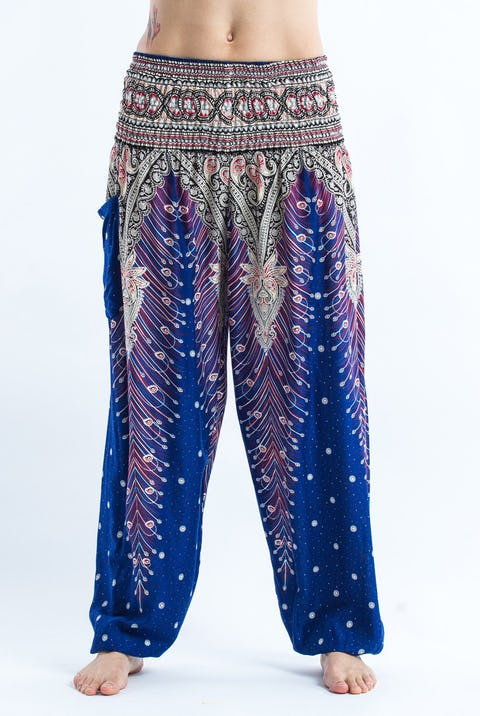 Peacock Feathers Unisex Harem Pants in Blue