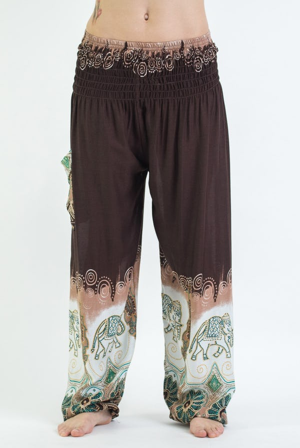 Solid Top Elephant Unisex Harem Pants in Brown
