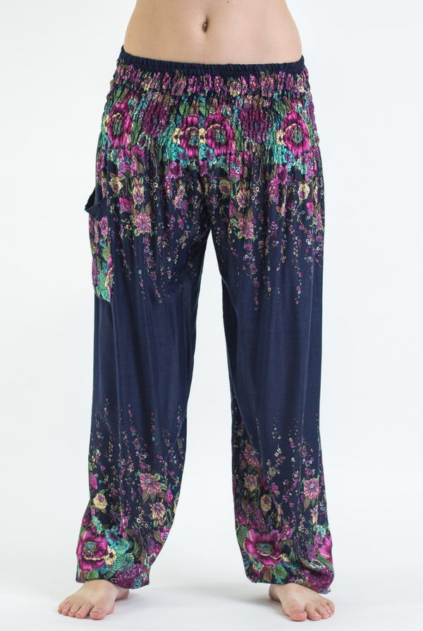 Floral Unisex Harem Pants in Blue