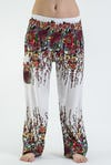 Floral Unisex Harem Pants in White