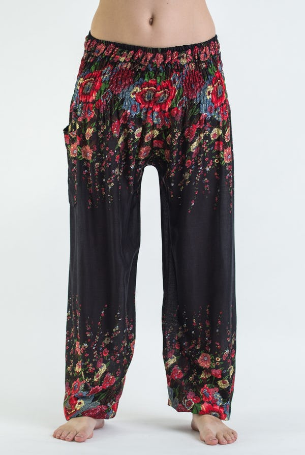 Floral Unisex Harem Pants in Black