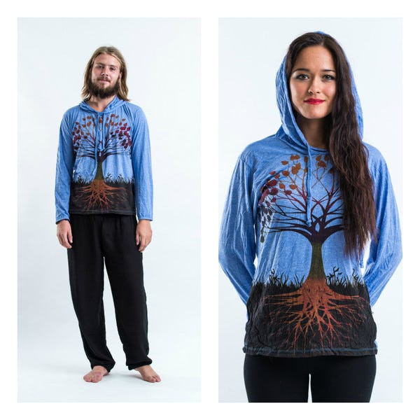 Sure Design Tree of Life Hoodies Blue