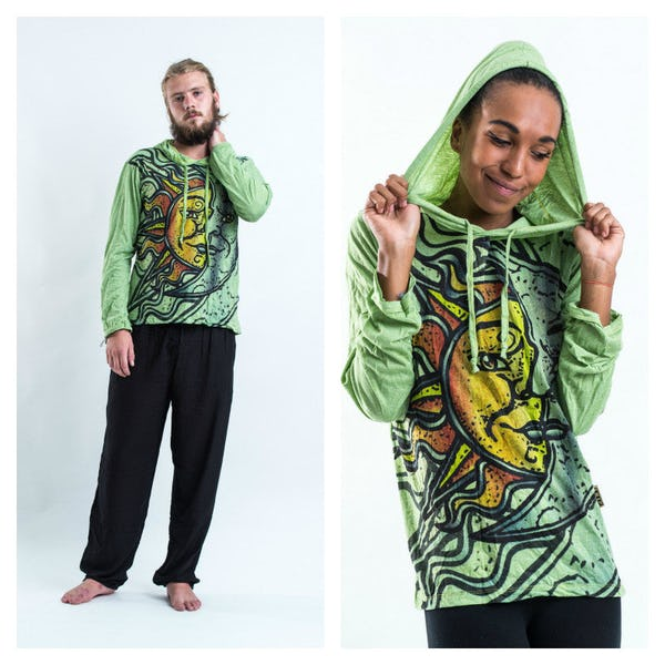 Sure Design Sun and Moon Hoodies Green