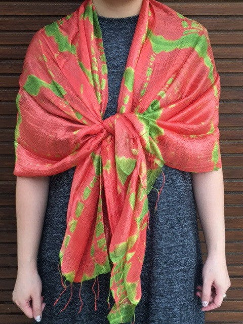 Fair Trade Hand Made Tie dye Scarf Silk In Peach