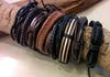 Fair Trade Hand Made Woven Leather Bracelet Rocker Braid Brown with Black