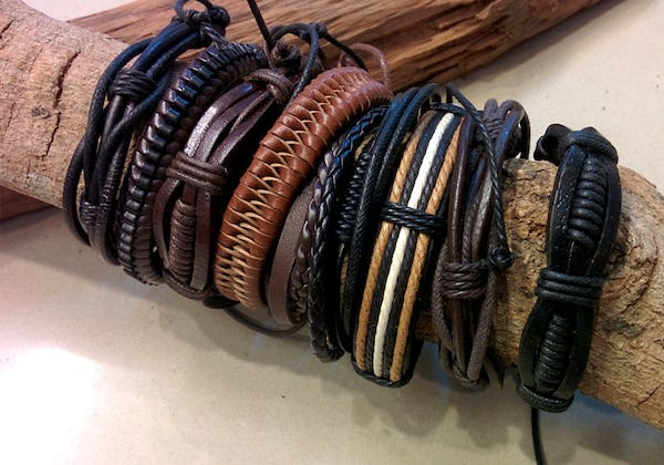 Fair Trade Hand Made Woven Leather Bracelet Rocker Braid with Black