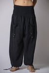Thailand Super Soft Organic Cotton Half Lines Pants Drawstring Elastic Black