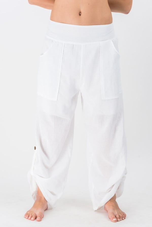 Thailand Super Soft Organic Cotton Wide Leg Yoga Elastic Pant in White