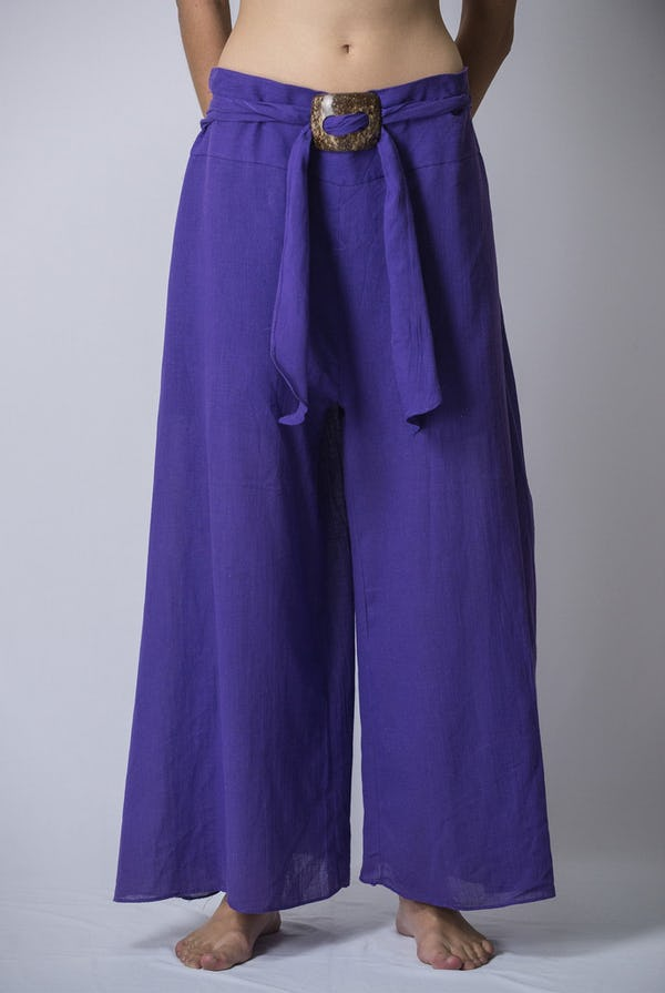 Womens Solid Color Palazzo Pants in Violet