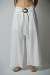Womens Solid Color Palazzo Pant in White