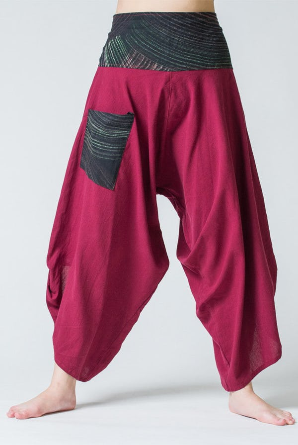 Thai Button Up Cotton Pants with Hill Tribe Trim Red