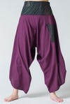 Thai Button Up Cotton Pants with Hill Tribe Trim Purple