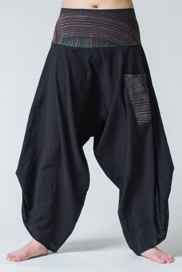 Thai Button Up Cotton Pants with Hill Tribe Trim Black
