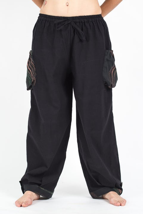Unisex Drawstring Cotton Pants with Hill Tribe Trim in Black