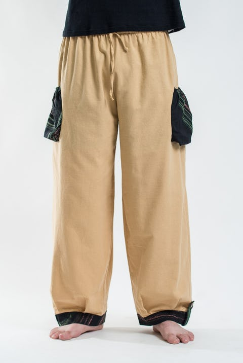 Thai Cotton Drawstring Pants With Hill Tribe Trim Cream