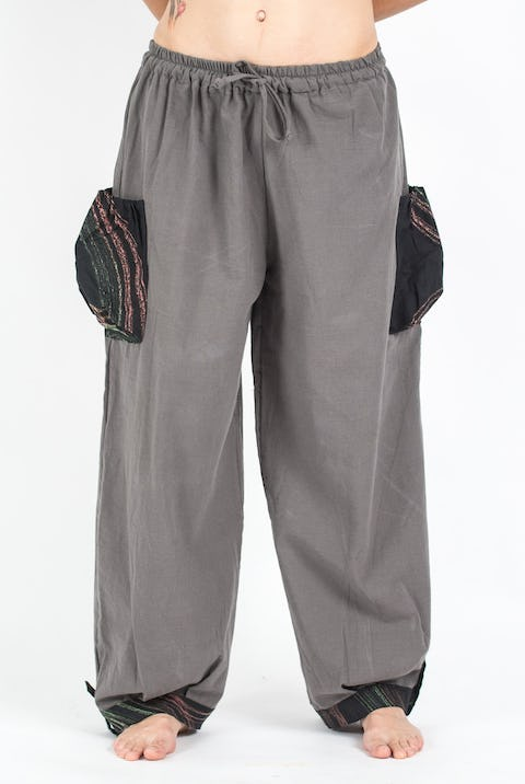 Thai Cotton Drawstring Pants With Hill Tribe Trim Gray