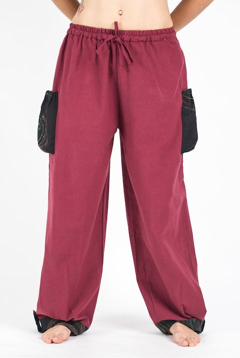 Thai Cotton Drawstring Pants With Hill Tribe Trim Red