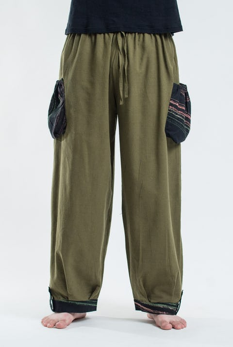 Thai Cotton Drawstring Pants With Hill Tribe Trim Olive