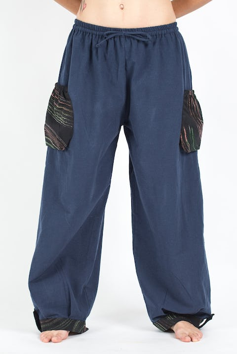 Thai Cotton Drawstring Pants With Hill Tribe Trim Blue